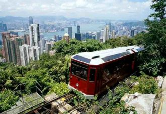 The peak tram. (Photo not mine)